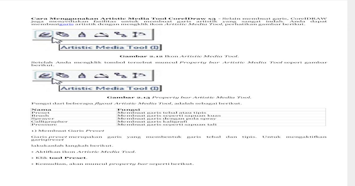 Cara Menggunakan Artistic Media Tool Coreldraw X3