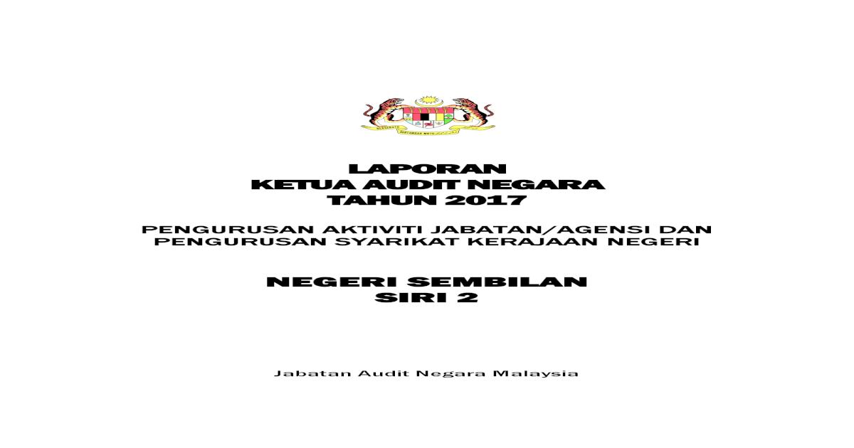 Laporan Ketua Audit Negara Tahun Ak N9 Pdf Menyediakan Standard Operation Procedure Sop Lengkap