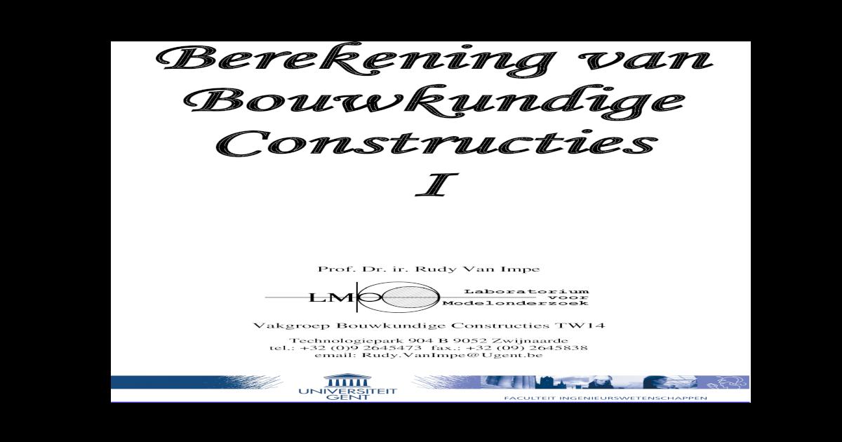 PDF-syllabus Berekening Van Bouwkundige Constructies I